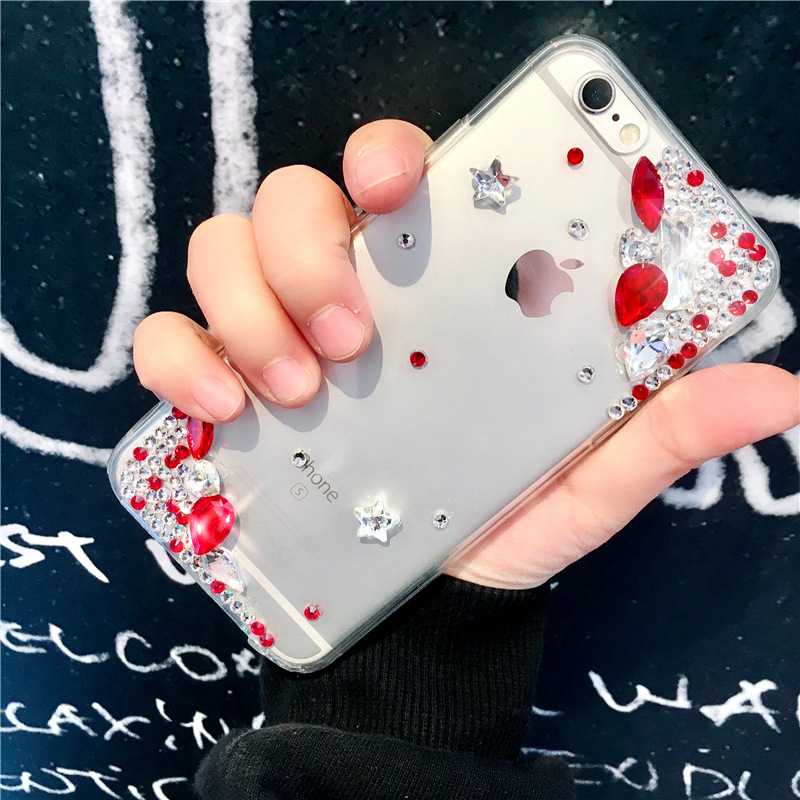 Europe and America A57 noble luxury rhinestone Y67 transparent acrylic R15 drop protection mobile phone case soft cover X20PLUS