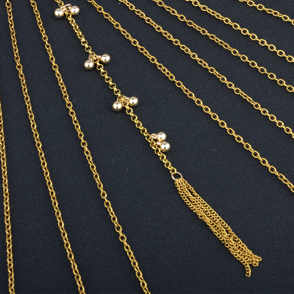 Alloy Fashion Tassel necklace(Golden) NHNMD4379-Golden