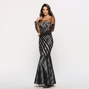 2019 Amazon Explosive Fall/Winter Women's European and American Lace Mesh Slim Celebrity Fan Ball Long Toast Evening Gown