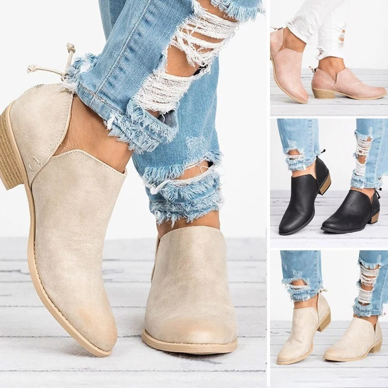 Autumn And Winter New Thick Heel Pointed Single Shoes Low Heel Nude Shoes Short Boots Large Women'S Shoes