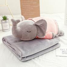卡通大象猪抱枕被子两用河马及软抱枕办公室多功能靠枕靠垫午睡毯
