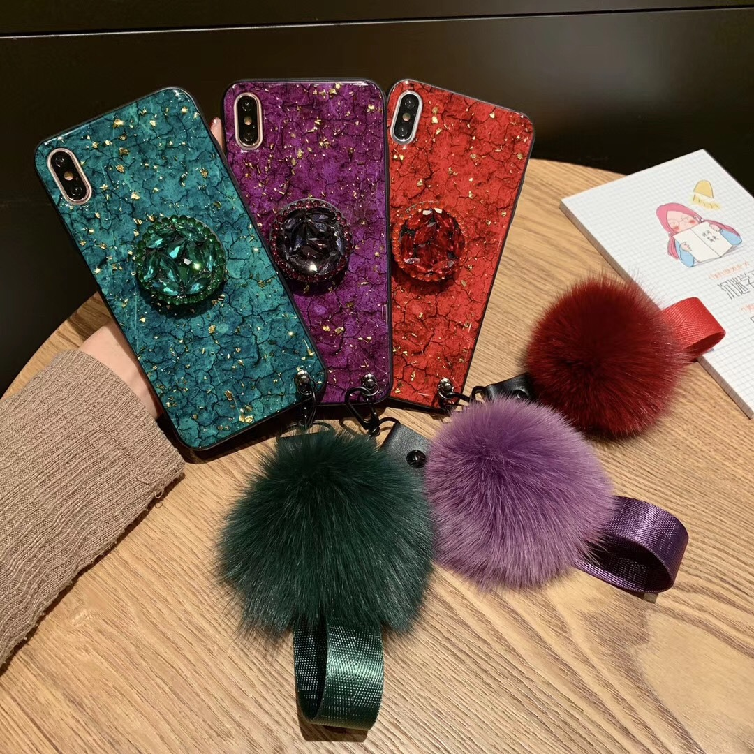 Diamond balloon retractable bracket with fox fur ball lanyard for iPhoneX crack phone shell Apple 8plus
