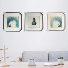 苏绣精品孔雀装饰壁画 家居客厅商务挂画 纯手工单面绣孔雀工艺品