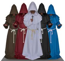 披发万圣节古装中世纪僧侣服修士袍巫师服牧师服基督徒五色现货