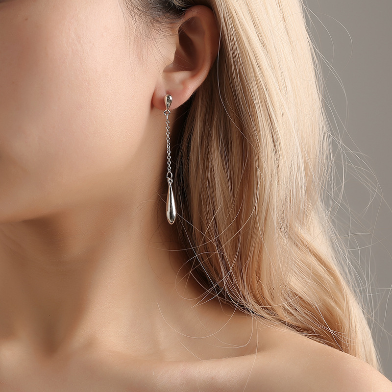 New Korean Simple Water Drop Earrings Long Tassel Earrings Wholesale NHDP203036