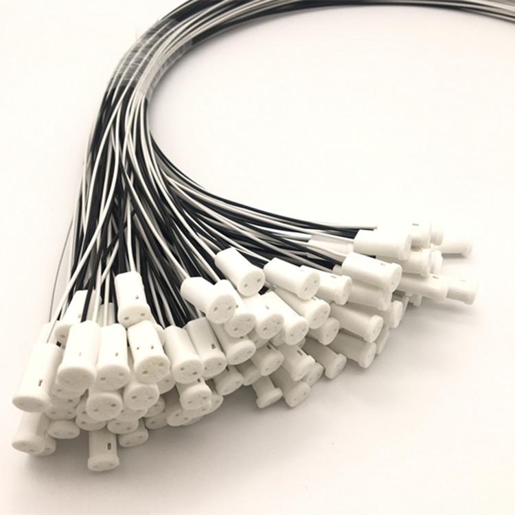 g4灯头 陶瓷 低压卤素灯座 插线式 带0.3平方黑白铁氟龙50CM线
