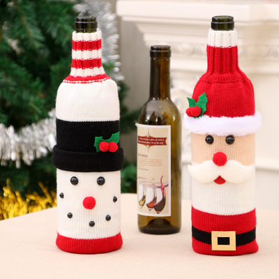 Red Wine Bottle Cover Bags Snowman Santa Claus Christmas Decoration Table Xmas