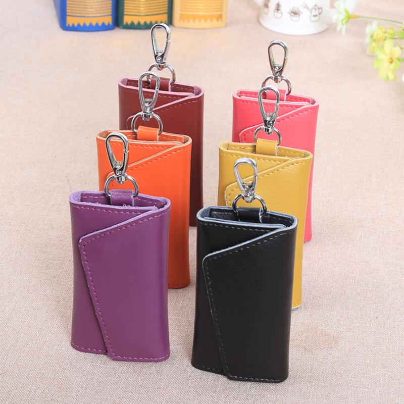 时尚家用真皮钥匙包 家用卡位零钱多功能牛皮腰挂锁包