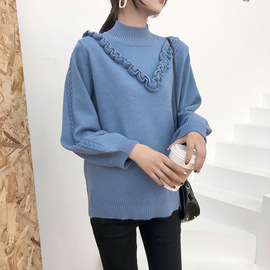 Autumn and winter new maternity dress fashion vertical collar pregnant women's bottom sweater loose large size elastic soft knitted sweater trendy mother