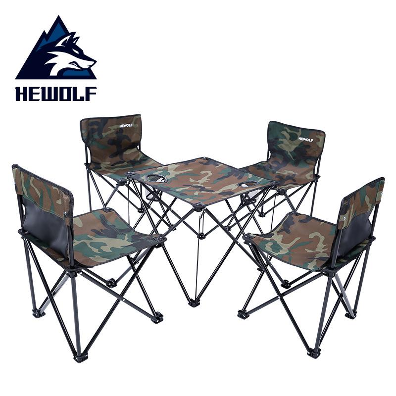 公狼户外自驾游野炊餐桌椅组合五件套便携式露营户外折叠桌子套装