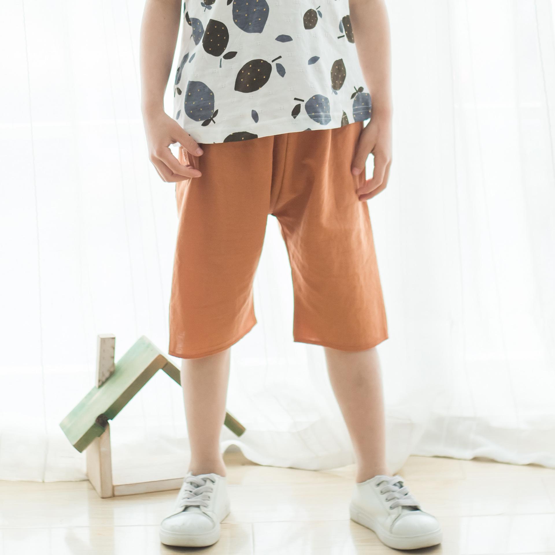 2018年童裤男夏中小童新品纯棉薄款纯色中裤童裤批发日式一件代发