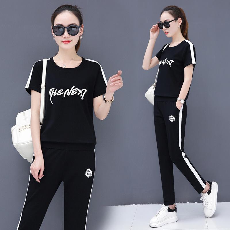 2020短袖运动套装女夏季新款女装韩版时尚休闲印花长裤两件套服装