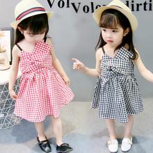 一件代發夏季新款童裙 韓版女童吊帶格子連衣裙 外貿童裝批發