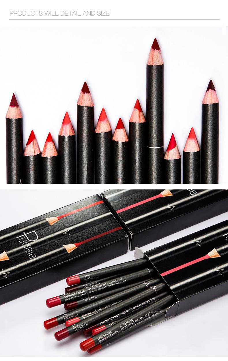 12 Color Lip Liner Waterproof Durable Non-marking Nude