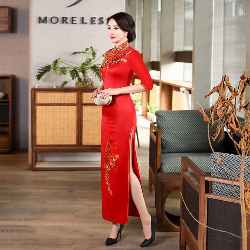 Chinese Dress Qipao for women Long sleeve show dress elegant atmosphere Qipao skirt customized