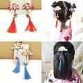 中国风新年唐装旗袍发饰品汉服复古儿童流苏发夹女童头饰扇子边夹