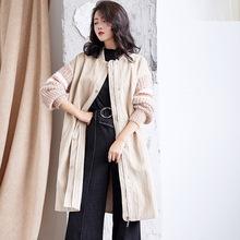 水貂毛長袖拼接棉衣女中長款2018冬季新款韓版女裝冬裝外套棉服女
