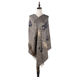 Autumn and winter warm new Bohemian national wind cashew flower jacquard scarf air conditioning shawl dual-use female