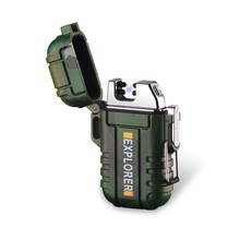 户外便携防水双电弧充电打火机个性安全扣防风无声点烟器厂家直销