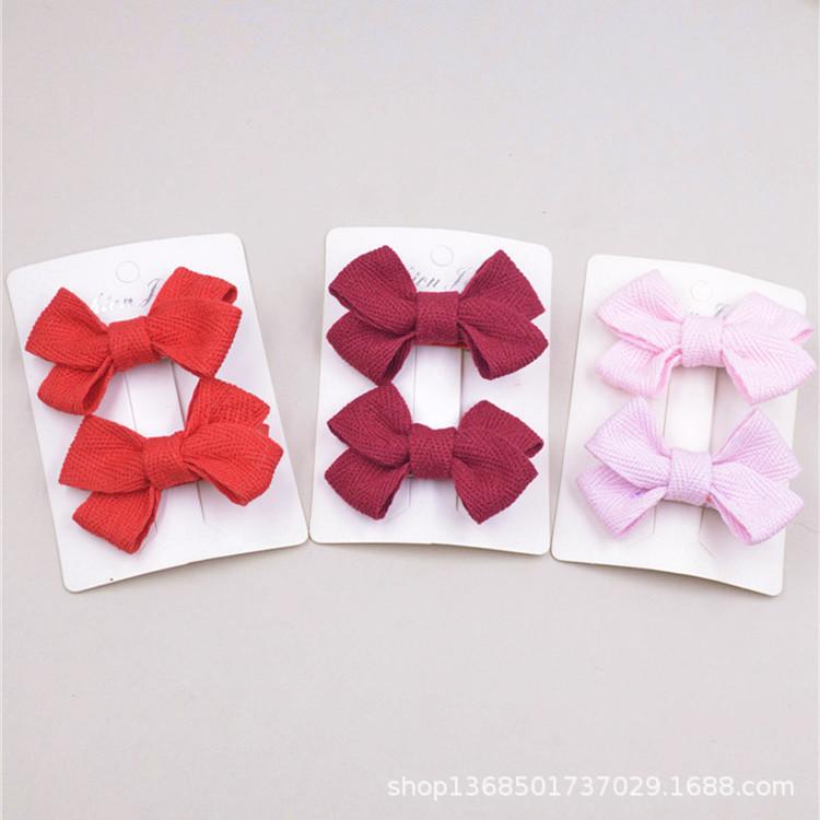 日本进口棉带织带儿童发夹宝宝头饰对夹刘海夹丸子头蝴蝶结多色