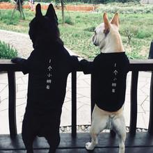 春秋季新款宠物T恤潮牌狗衣服法斗巴哥泰迪雪纳瑞小型犬猫两脚