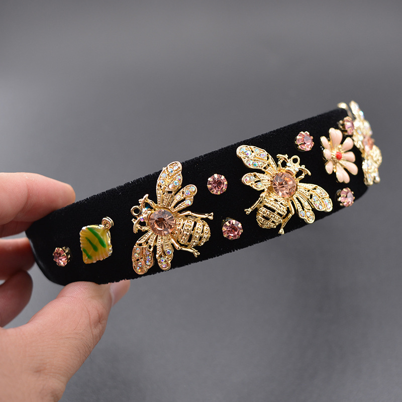 Alloy Bohemia Flowers Hair accessories  black NHNT0623black