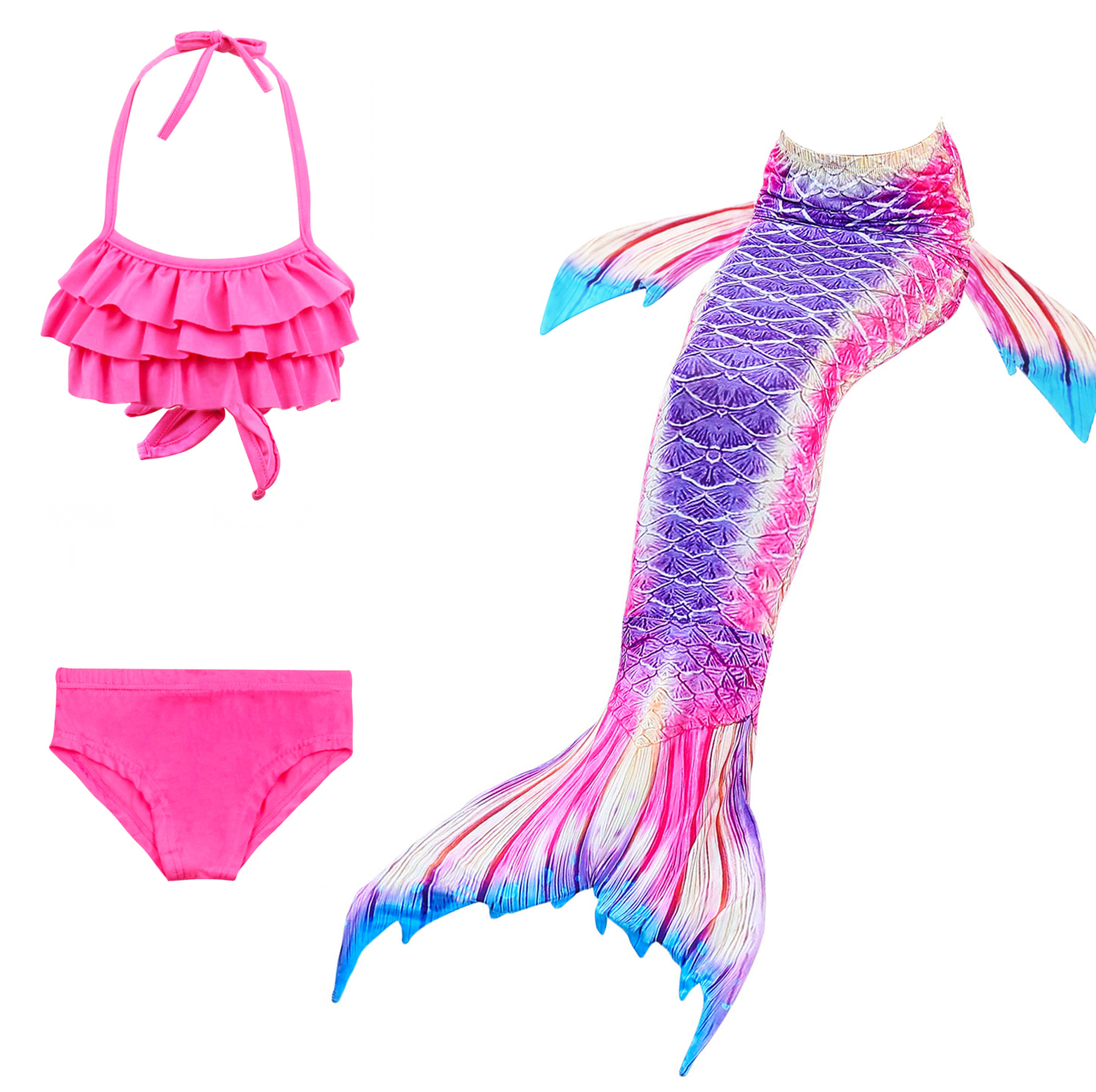 9301037214 898390851 - 4PCS/Set HOT Kids Girls Mermaid Tails with Fin Swimsuit Bikini Bathing Suit Dress for Girls With Flipper Monofin For Swim