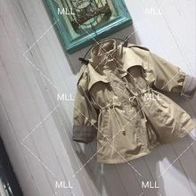 2018新款欧美秋冬童装风衣外套上衣长款收腰高档防风夹棉保暖厂家