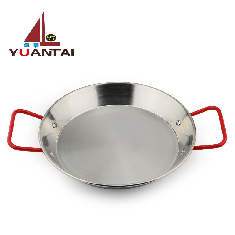 加厚西班牙红柄钢柄海鲜饭锅 本色海鲜干锅煎锅 不锈钢平底不粘锅