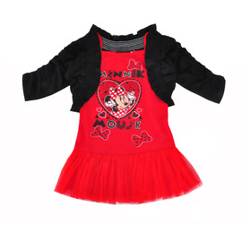 Small and medium-sized children's spring and autumn girls long-sleeved black coat + cartoon sling net yarn side dress two sets