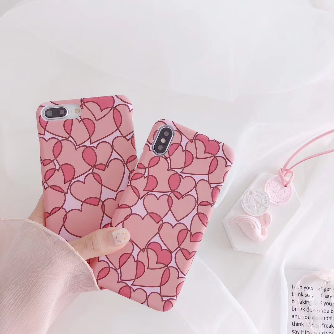 Cute pink girl love mobile phone shell iphone 6 7 8 X plus water paste hard shell all-inclusive protective cover