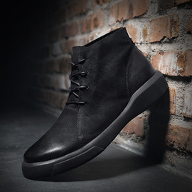 Trendy boots with velvet high uppers men's autumn and winter boots men's Martin boots real leather trendy men's shoes