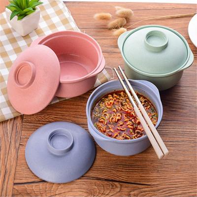 货源厂家直销创意麦香泡面碗带盖学生汤碗餐具饭盒方便面碗泡面杯批发