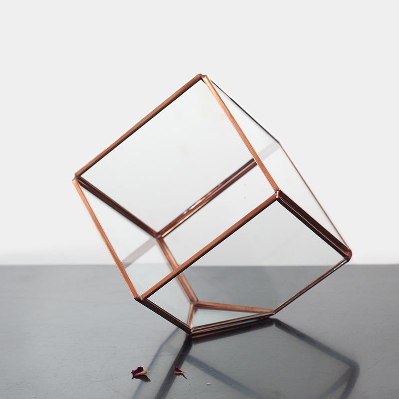 kaheku微景观玻璃花房 几何形立方体多面体玻璃罩紫铜色KE001E