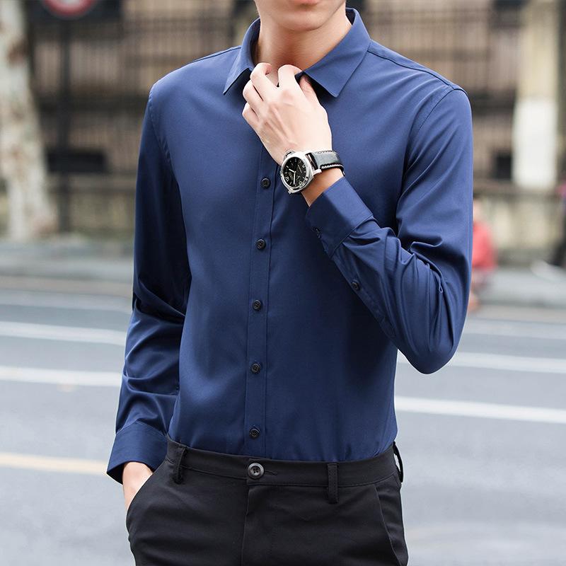 2018夏季新款男士长袖衬衫韩版修身纯色衬衣商务休闲男装时尚潮流
