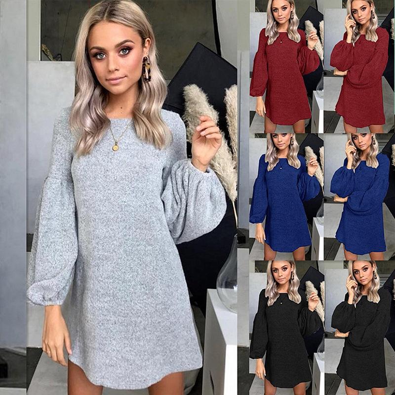 现货!跨境专供 ebay 亚马逊 秋冬女装 新款针织毛衣连衣裙打底衫