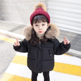 Children's clothing girls boutique cotton winter new small and medium girls fashion cute fur collar hooded cotton padded