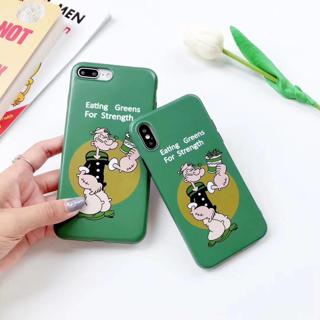Korean retro Popeye Apple X mobile phone shell 7plus cute couple models Phone8 matte soft shell 6s tide
