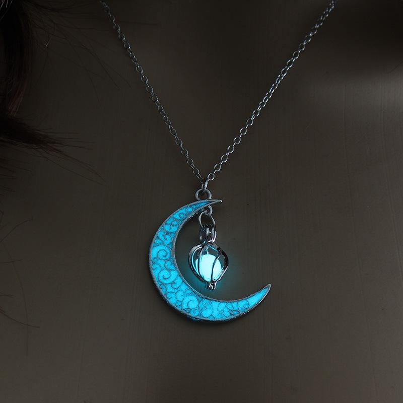 Hot Selling Hollow Spiral Moon Luminous Pendant Cyclone Luminous Bead Necklace wholesale nihaojewelry NHAN245539