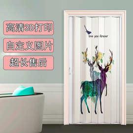 pvc折叠门推拉门厨房卫生间吊挂客厅厕所家用开放式日式简易拉门