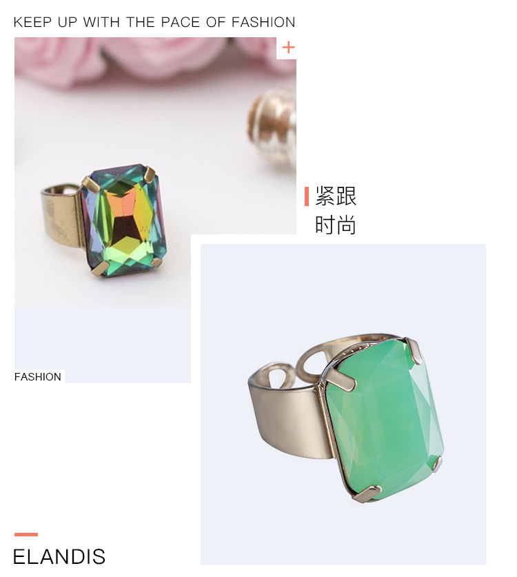 Alloy Fashion Geometric Ring  (Ancient bronze + red) NHTF0022-Ancient-bronze-red