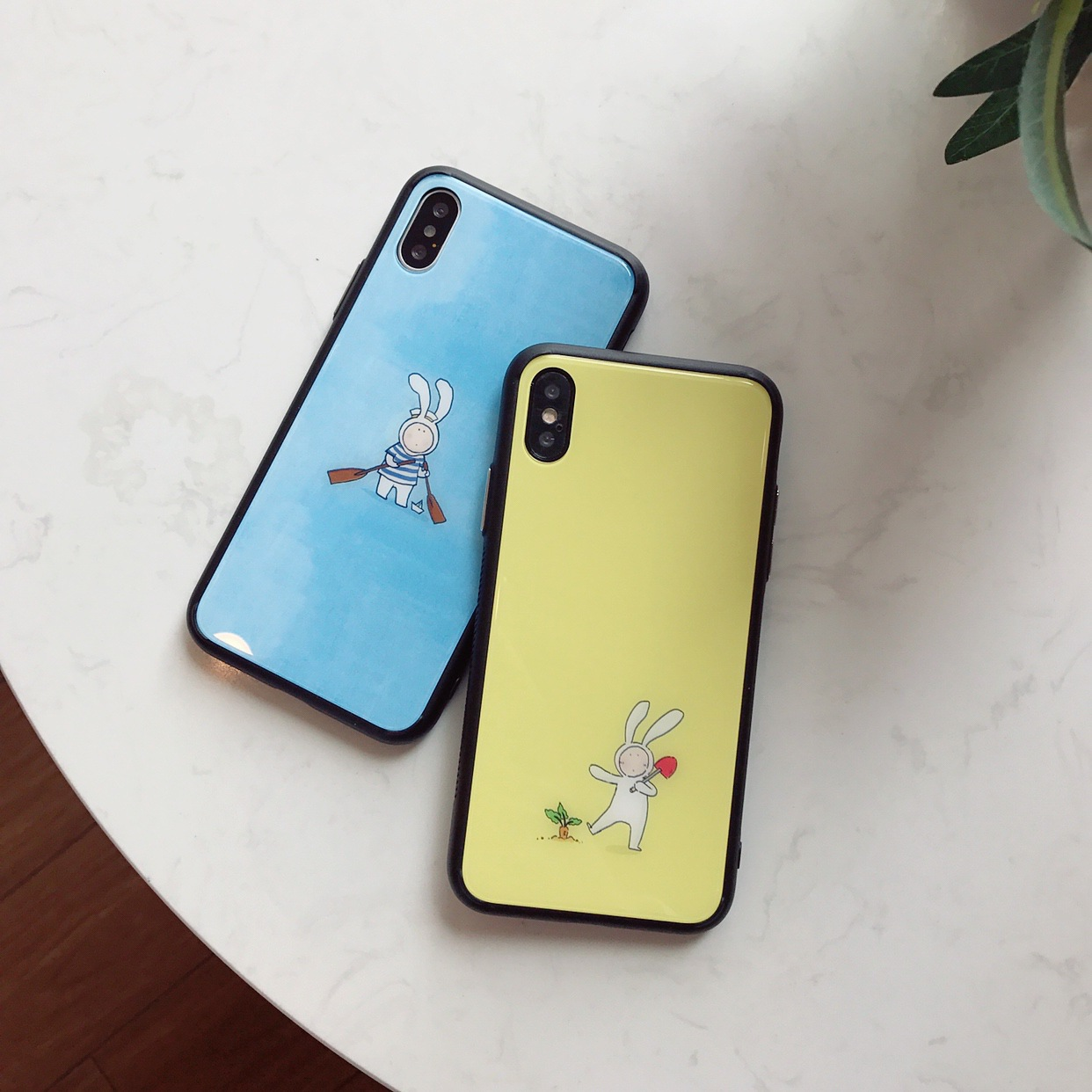 Apple X mobile phone shell Anthony rabbit iphone8plus creative glass 6s all-inclusive protective cover 7p tide female Korean
