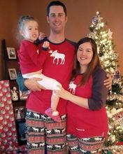 圣誕親子裝爆款歐美小鹿家居服套裝男女童長袖純棉睡衣 現貨