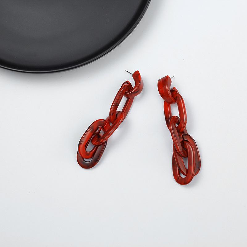 Imitated crystalCZ Fashion Geometric earring  red NHIM1484red