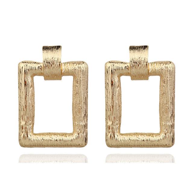 欧美跨境新款ZZA拉休闲简约女式耳环长方形合金耳饰时尚金银配饰