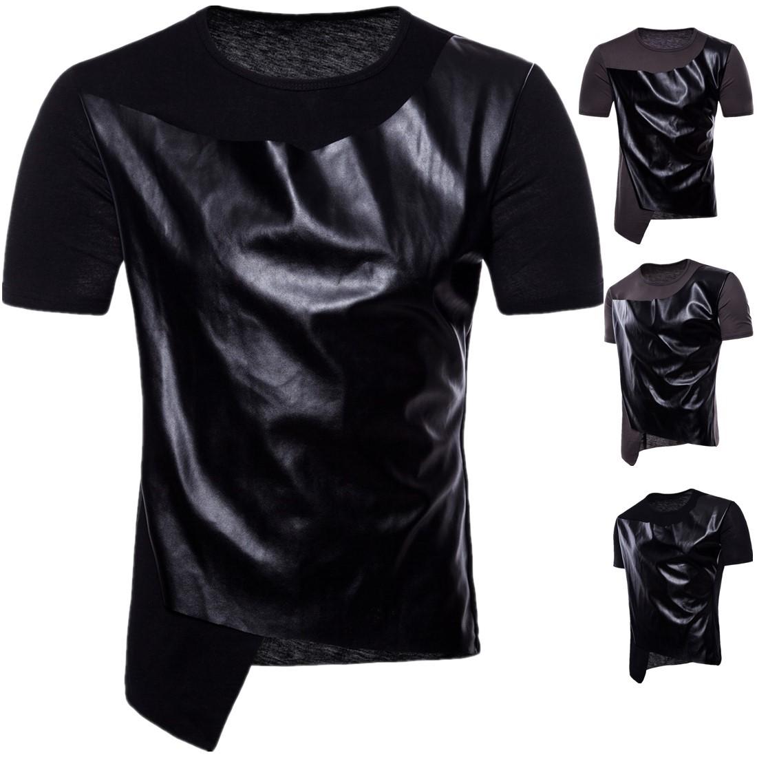 European men's summer new men's short sleeve crew neck T-shirt leather hip hop hip hop T-Shirt Large yt006