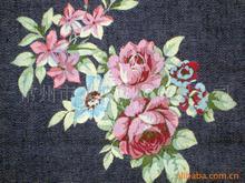 【厂家直销】SY-0806款全棉玫瑰印花牛仔布,水洗休闲印花牛仔布