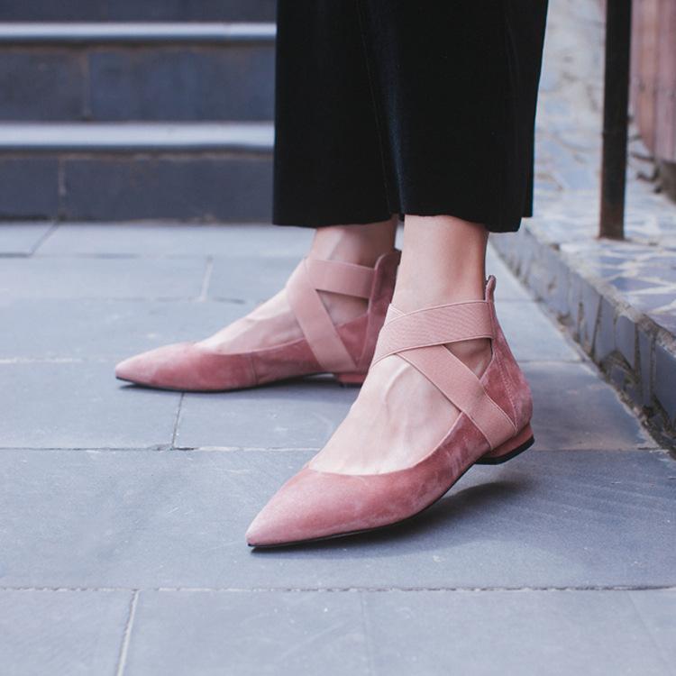 磨砂单鞋女2019新品爆款休闲真皮低跟女鞋平底尖头舒适羊反皮舒适