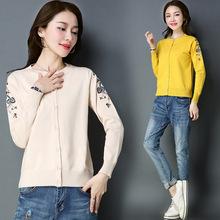 春季2018新款女時尚短款針織衫開衫長袖韓版繡花純色圓領毛衣外套