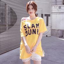 2018春夏款韩版字母印花露肩一字领短袖T恤女中长款宽松学生上衣